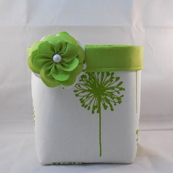 Lime Green and White Dandelion Themed Fabric Basket With Detachable Fabric Flower Pin For Storage Or Gift Giving