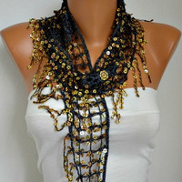 ON SALE - Sequin Scarf -Floral - Women Shawl Scarf - Bellydance - Cowl Scarf Lace Scarf - fatwoman