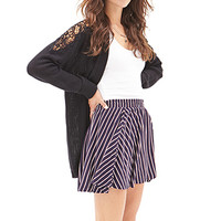 FOREVER 21 Sailor Stripe Mini Skirt Navy/Cream