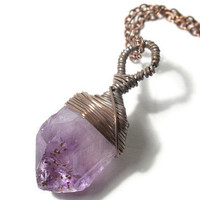 The Antique Copper Wire Wrapped Raw Amethyst Nugget Necklace.