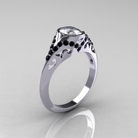 Classic 14K White Gold Oval White Sapphire Black Diamond Wedding Ring, Engagement Ring R194-14KWGBDNWS