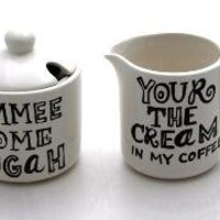 Cream and Sugar Set Funny with Typography by LennyMud on Etsy