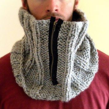 Man Cowl Gray Grey Marble gift for him by KittyDune on Etsy