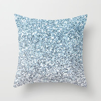 Silver Blue Glitters Sparkles Texture Throw Pillow by Tees2go | Society6