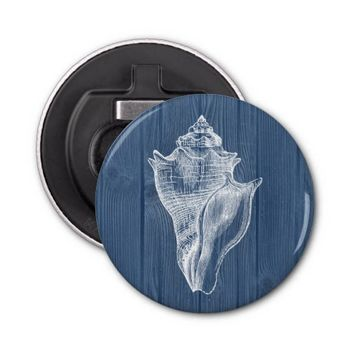Seashell Vintage Blue Wood Beach Bottle Opener