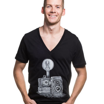 Vintage Camera Jersey Short Sleeve Deep V