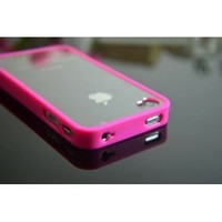 Hot Pink Bumper with Ultra Clear Hard Back Case Cover for the Apple iPhone 4 4S + Free Clear Front Screen and Back Film Protectors