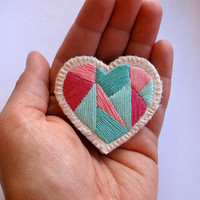 Mini heart badge of love embroidered geometric in pinks and shades of mint greens colorblock
