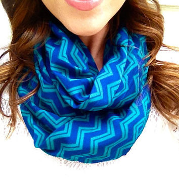 On Sale Chevron Teal and Cobalt Infinity Scarf by dAnnonEtsy