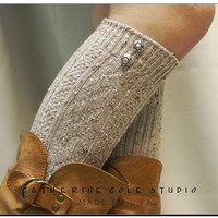 The Bavarian lace  BOOT SOCKS  oatmeal by CatherineColeStudio
