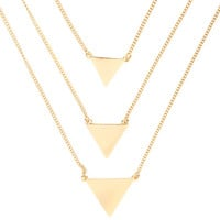 Gold Tiered Triangles Multi-Strand Pendant Necklace