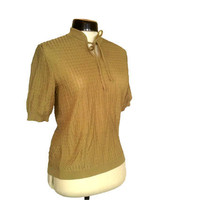 70s Top gold Sweater short sleeved Vintage by thevintagequeendom