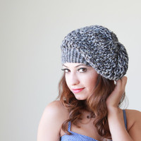 Knit Slouch Hat for women hat in grey shades - Ready to ship - Women slouchy hat