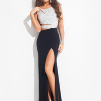 Sheer And Beaded Back High Slit Prom Dress By Rachel Allan 6881
