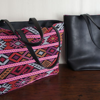 Reversible Mayan Black Leather Bag