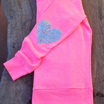 """Dazzle Heart"" Sequin Heart Elbow Patch Sweatshirt - Bright Pink/Silver"