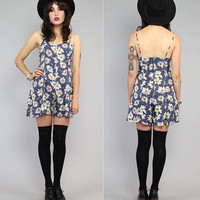 Vintage 90s Blue Daisy Sunflower Floral Grunge by theindustry