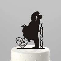 Wedding Cake Topper Silhouette Couple Mr & Mrs Personalized with Last Name, Acrylic Cake Topper [CT18f]