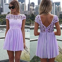 Zeagoo Floral Lace Dresses for Women Casual Cocktail Party Mini Dress