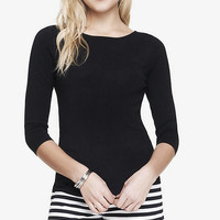 FITTED BATEAU NECK SWEATER from EXPRESS