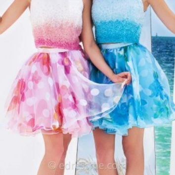 Two Piece Print Mini Prom Gown by Tony Bowls Shorts