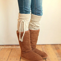 Alpine Thigh High Slouch Sock - Tweed thick cable knit socks w/ fold over cuff and tassel tie - boot sock leg warmer (item no. 6-27)