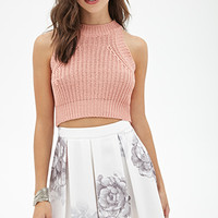 FOREVER 21 Pleated Floral Skirt Cream/Purple