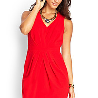 LOVE 21 Pleated Woven Sheath Dress Red Small