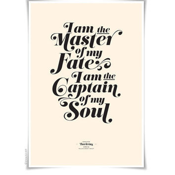 INVICTUS on cream - typography art print - 13 x 19 in French or English - vintage collection