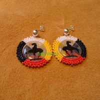 Native American style rosette beaded End Of The Trail post earrings