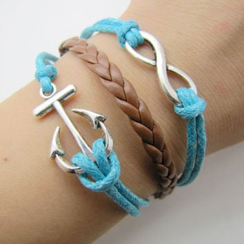 silvery anchor infinity bracelet with black ropes white leather women jewelry bangle men leather bracelet  1283A