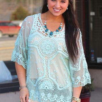 Crochet + Lace Overlay Top {Mint}