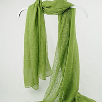Grass Green Scarf with Lace, Floral Scarf, Spring Scarf, Women's Scarves, Large Scarves, Shawl, Hijabs, Gift for Her, Accessories (VS-10-18)