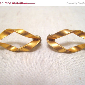 Gold, Tone, Fashion, Spiral, Ear, Studs, Costume, Earrings, Retro, Mid Century, Long, Golden, Everyday, Formal, Office, Casual, Formal, Gift