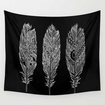 Patterned Plumes - White Wall Tapestry by Kyle Naylor