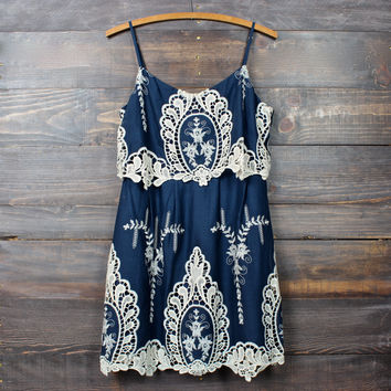 vintage inspired crochet lace dress in navy & cream