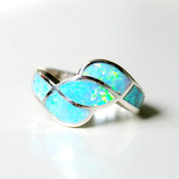 Opal Ringinlaid Opal RingSterling SilverOctober by HWSTAR on Etsy