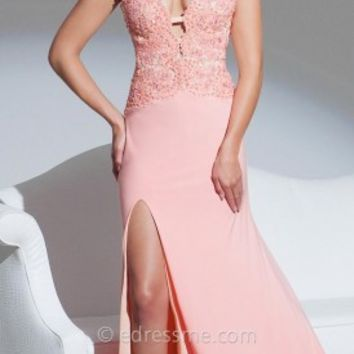Low Scallop V-Neck Prom Gown by Tony Bowls Le Gala