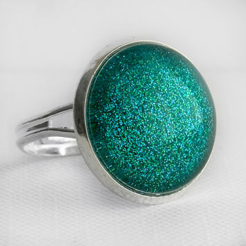 Mermaid Tears Ring in Silver - Turquoise Blue Green Glitter Cocktail Ring