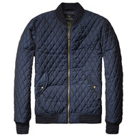 The Navy Quilted Bomber Jacket
