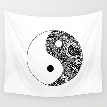 Yin Yang Wall Tapestry by Abby Mitchell