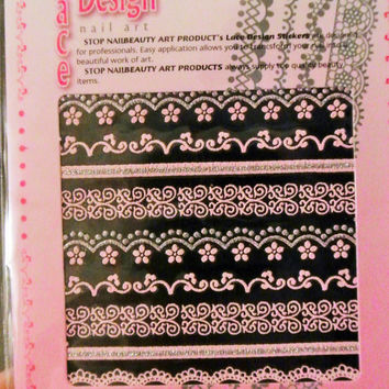 1 pack of pink lace nail sticker different designs, nail decal