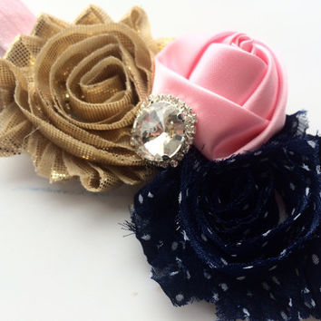 Navy, Pink, and Gold Flower Headband for Girls - Light Pink Elastic Headband Photo Prop - Easter Headband - Pink Rose Headband -