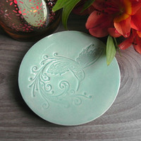 Bird Dish Ceramic Light Mint Plate Jewelry Dish Hummingbird Ring Holder Home Decoration Pottery