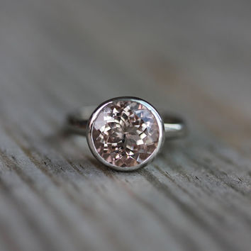 10mm MORGANITE Ring and 14k Rose Gold Solitaire Ring