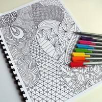 Printable Colouring Book, Zentangle Inspired, 12 Intricate Coloring Patterns