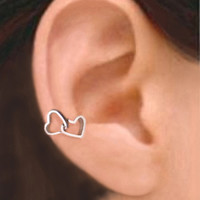925 Double heart  Solid Sterling silver ear cuff by RingRingRing