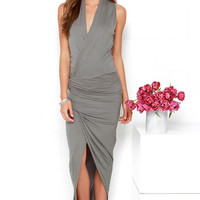 Keep it on the High-Low Grey Wrap Dress