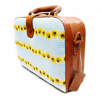 Brown Square Leather Bag- Sunflower Cotton Pattern Combined- Medium Suitcase Hand Stitched