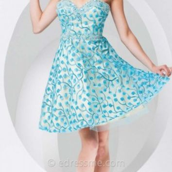 A-line Floral Mini Prom Gown by Tony Bowls Shorts